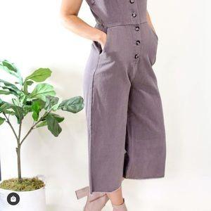 Culottes mauve purple button up jeans